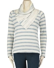 Striped French Terry Crochet Cowl Neck Sweatshirt, Main View
