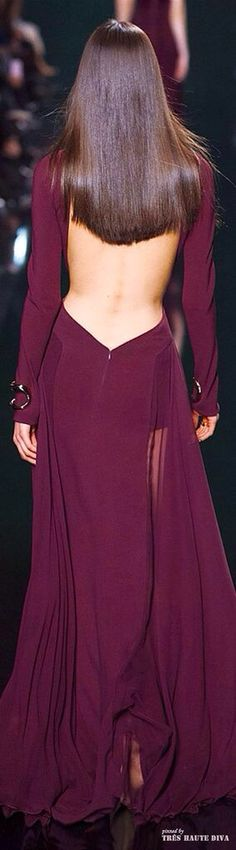 Long sleeve Purple / Burgundy Gown open back