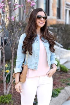 Denim, Blush & White Spring Outfit, La Mariposa Blog