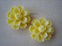 2PCS  Lotus Blossom Cabochons  26mm  Yellow  New by ZARDENIA, $2.50