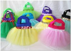 favor bags made of tutus for disney princess bday party