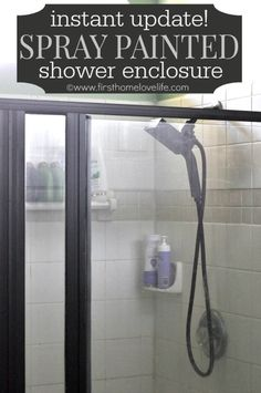 Bathroom DIY: Give your outdated shower enclosure an instant update by using spray paint! #bathrooomideas #bathrooms #spraypaint