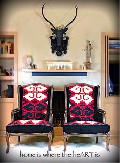 Excited to share the latest addition pics to my #etsy shop: sold Cabin decor chairs restored Vintage winged back chairs