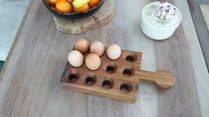 Egg storage tray with handle holding 12 by CarslakeWoodDesigns Woodworking Guide, Custom Woodworking, Woodworking Projects Plans, Egg Storage, Industrial Home Design, Indoor Outdoor Furniture, Egg Holder, Serving Board, Food Videos
