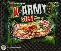The Ramen Rater reviews a fancy variety from Nongshim which is based on Budae Jjigae - a unique and tasty cross-cultural fusion Army Stew, Ramen Hacks, Instant Ramen, Snack Recipes, Snacks, No Bean Chili, Noodle Recipes, Foods To Eat, Noodle Soup