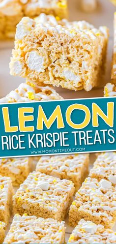 These extra delicious Lemon Rice Krispie Treats are better than the original with a bright, bold lemon flavor! This fabulously easy rice krispie treats recipe is sure to be a new favorite! // Mom On Timeout #lemon #ricekrispietreats #RKT #dessert #nobake #easyrecipe #ricekrispies Rice Krispy Treats Recipe, Original Rice Krispies Recipe, Krispie Treats, Cereal Treats, No Bake Treats, Baking Recipes, Cookie Recipes, Dessert Recipes, Lemon Desserts