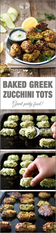 Greek Zucchini Tots / Fritters - transform the humble zucchini into these tasty bites! Easy to make traditional Greek recipe.Greek Zucchini Tots / Fritters - transform the humble zucchini into these tasty bites! Easy to make traditional Greek recipe. Veggie Dishes, Veggie Recipes, Appetizer Recipes, Vegetarian Recipes, Healthy Recipes, Yummy Appetizers, Delicious Recipes, Clean Eating Recipes, Cooking Recipes