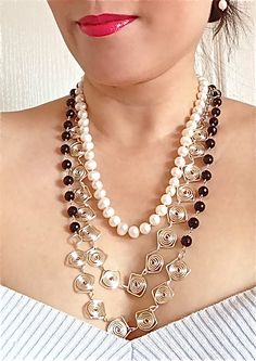 Liana Casanova Collection silver wire and gemstone necklaces found at GemsSheGets.com