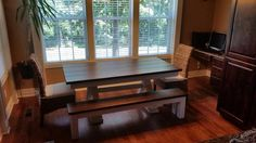 """James+James 6' x 37"""" Trestle Table with a traditional boarded top stained in Dark Walnut and apron/base painted Ivory. Pictured with matching Farmhouse Bench and Banana Leaf chairs."""