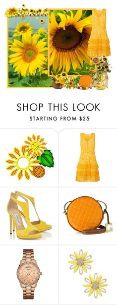 """""""Yellow, sunflowers and sunshine - Contest!"""" by asia-12 ❤ liked on Polyvore featuring MICHAEL Michael Kors, Gherardini, GUESS and Kate Spade"""