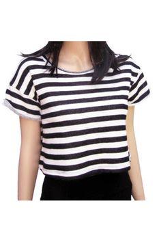 Black & White Stripe Cropped Sweatshirt