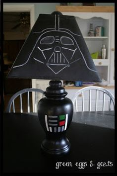 DIY Darth Vader Lamp. Could also paint the whole thing brown, cover the shade in fuzzy brown fabric, and add a sash to make it look like Chewie.