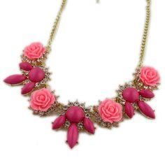 beauty pink flower bib necklace, shop at Costwe.com