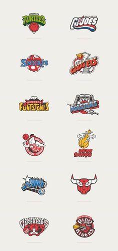 80s Cartoons Meet Basketball Logos