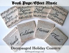 Decoupaged coasters made from book pages and vintage sheet music with steps to make your own, including a printable of the holiday words used.