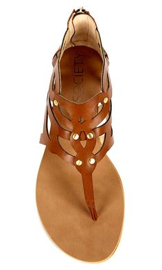 Laser cut gladiator sandal in tan with a thong silhouette and an easy back zipper