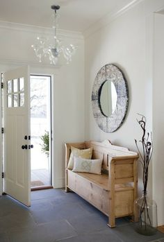 Besides tables, you can rely on benches as your house's entryway furniture. An entryway bench can be as simple as a plank of a wood, long bench. If you have had one entryway . Read Entryway Bench Ideas that are Useful and Beautiful Narrow Bench, Narrow Entryway, Hallway Decorating, Entryway Decor, Decorating Ideas, Entryway Ideas, Entryway Furniture, Hallway Ideas, Interior Decorating