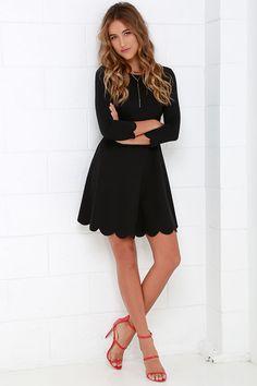 49421eb5ba love the scalloped hem on the Cumulonimbus Clouds Black Skater Dress Sadies  Dress