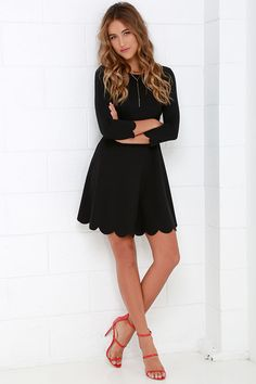 love the scalloped hem on the Cumulonimbus Clouds Black Skater Dress