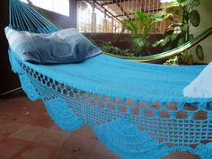 Turquoise hammock, Double Hammock hand-woven Natural Cotton Simple Fringe. $52.00, via Etsy.   When we get a house...