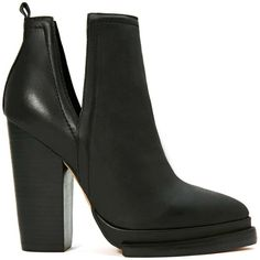 Jeffrey Campbell Who's Next Leather Boot ($135) ❤ liked on Polyvore featuring shoes, boots, ankle booties, heels, ankle boots, booties, black, leather booties, stacked heel booties and black leather booties