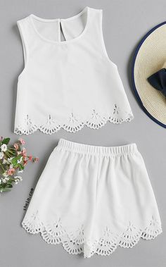 Laser Cut Crop Tank Top And Shorts Set 2 piece romper wedding clothes attire Girl Outfits, Casual Outfits, Fashion Outfits, Cute Summer Outfits, Cute Outfits, Teen Fashion, Womens Fashion, Two Piece Outfit, Mode Inspiration