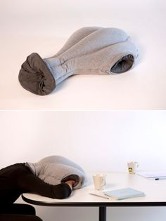 "According to the makers of ""Ostrich,"" the pillow/cushion/bed/garment hybrid sports a ""soothing cave-like interior"" that ""shelters and isolates our head and hands"" to create a work-friendly ""micro environment in which to take a warm and comfortable power nap at ease."""