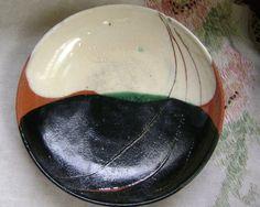 Ceramic Glazed wheel thrown Dish   vintage art by ArtandBookShop, $20.00