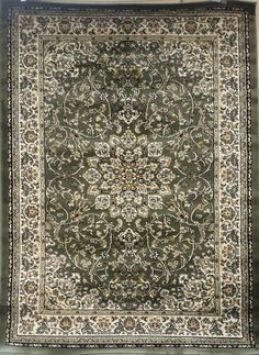 Traditional Persian Area Rug Green Design #603 (7ft9in.X10ft.)