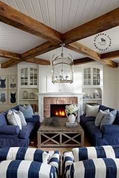 Coastal Cottage Living Room Furniture 29 Lake Muskoka Cottage with Coastal Interiors Home Bunch Interior Design Ideas 1 Farm House Living Room, Interior, Home, Coastal Living Room, House Interior, Coastal Decorating Living Room, Cottage Living Rooms, Cottage Living, Muskoka Cottage