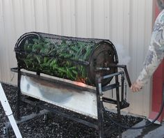 Roasting hatch chiles in New Mexico