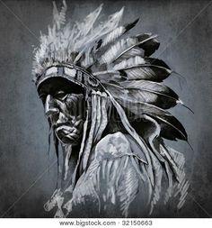 Poster Alter Indianer mit Federschmuck