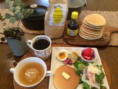 #breakfast #朝ごはん #パンケーキ  ハワイで買ったEggs'n Thingsのpancake mix で朝ごはん