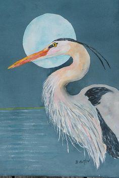 Heron Moon Painting  - Heron Moon Fine Art Print