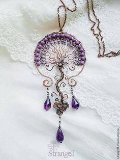Tree of life wire wrapped pendant. Bijoux Wire Wrap, Bijoux Diy, Wire Wrapped Jewelry, Metal Jewelry, Beaded Jewelry, Handmade Jewelry, Jewellery, Handmade Copper, Wire Pendant