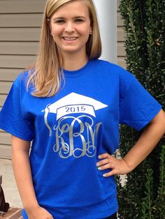 Monogram Class of 2015 T-Shirt Monogram Graduation TShirt Glitter T-Shirt Graduation Cap with Monogram Tee Shirt Glitter Monogrammed Gifts