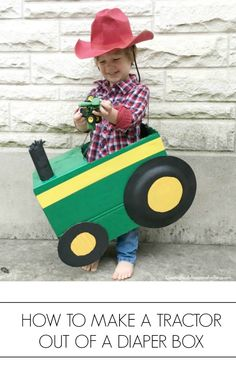 Here's an easy Halloween costume idea for your tractor loving toddler. make a cardboard box tractor out of a diaper box! Farm Animal Costumes, Farm Costumes, Animal Halloween Costumes, Hallowen Costume, Costume Ideas, Baby Halloween Costumes For Boys, Toddler Costumes, Summer Crafts For Toddlers, Toddler Crafts