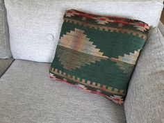 Southwestern Kilim Pillow / Boho Forest Green + Red Geometric Native American Pillow / Bohemian Throw Pillow / Medium Kilim Couch Pillow by ShopRachaels on Etsy https://www.etsy.com/listing/505039485/southwestern-kilim-pillow-boho-forest