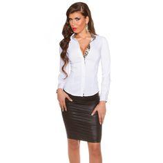 Dámska košeľa s leopardími vzormi - NajlepšiaMóda. Pullover, Lace Skirt, Leather Skirt, Diva, Chiffon, Slim, Elegant, Formal, Blouse