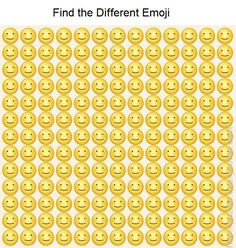 Find the different emoji in the following image? O Emoji, Emoji Games, Brain Teasers With Answers, Brain Teasers Riddles, Funny Illusions, Cool Optical Illusions, Funny Puzzles, Maths Puzzles, Find The Difference Pictures