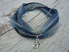 Om Ohm Anklet Ankle Bracelet  Blue Silver by BohemienneBelle, $25.00