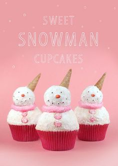 super cute!!! :: Snowman Cupcakes by @Bakerella