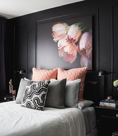 Best Glamorous Luxurious Dark Bedroom Ideas - Home of Pondo - Home Design Bedroom Black, Black Bedrooms, Bedroom Decor Dark, Floral Bedroom, Master Bedrooms, Black Walls, White Walls, Dark Accent Walls, Home Bedroom
