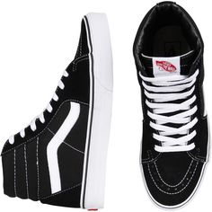 Vans Old Skool Sk8 Hi Blk/Wht ($80) ❤ liked on Polyvore featuring shoes, sneakers, vans, men, vans sneakers, vans trainers, vans shoes, vans footwear and unisex shoes
