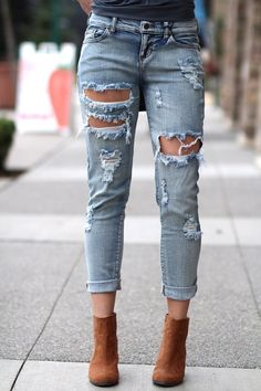 Cut It Out Chic Boyfriend Cuffed Jeans