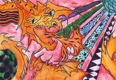Fire Dragon NeoPopRealism Print Watercolor Pen on Etsy. Dominguez High School in Compton, CA