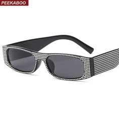 be6af96f0e6 Peekaboo rectangle sunglasses women shades retro classic 2019 black red  pink rhinestone sun glasses female party