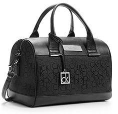 Calvin Klein Valerie Sleek Barrel Satchel Bag Handbag (Black ...