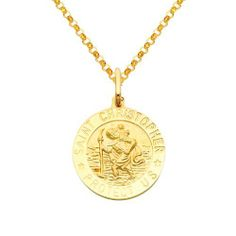 14K Yellow Gold Large Religious Saint Christopher Medal Charm Pendant with Yellow Gold 1.6mm Classic Rolo Cable Chain Necklace with Lobster Claw Clasp - Pendant Necklace Combination (Different Chain Lengths Available) The World Jewelry Center. $390.00. Promptly Packaged with Free Gift Box and Gift Bag. High Polished Finish