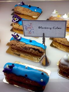 Traditional French éclairs are available at Pierrot Gourmet in blue, (blueberry), white (Bourbon vanilla) and red (raspberry), to represent the colours of the French flag through August 31, 2014.